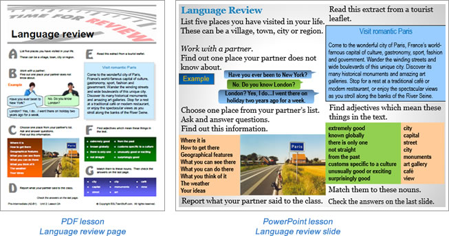 Additional lesson language review page