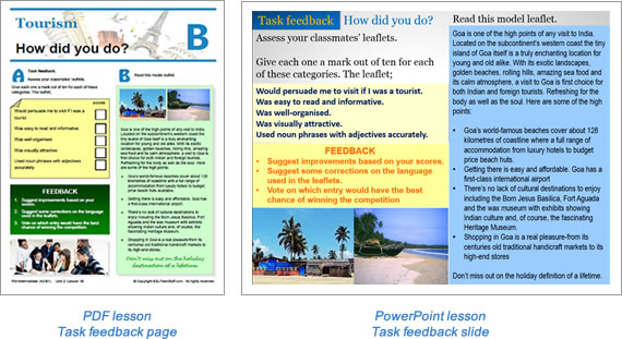 Task lesson Task Feedback page