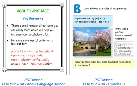 Task lesson Task follow on page Exercise A and B