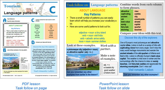 Task lesson Task follow on page
