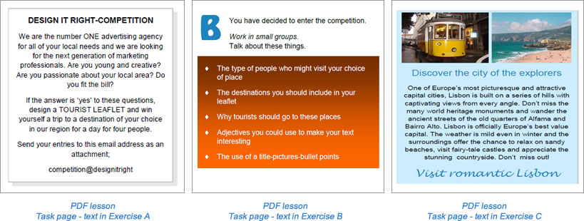 Task lesson Task page Exercise A-C