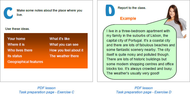 Task lesson Task preparation page Exercise D-E