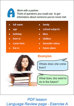 Task lesson language review page Exercise A