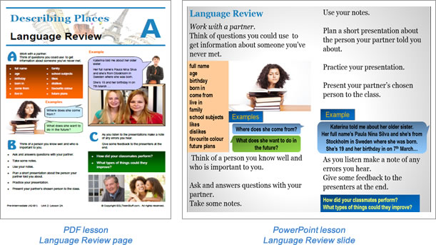 Task lesson language review page